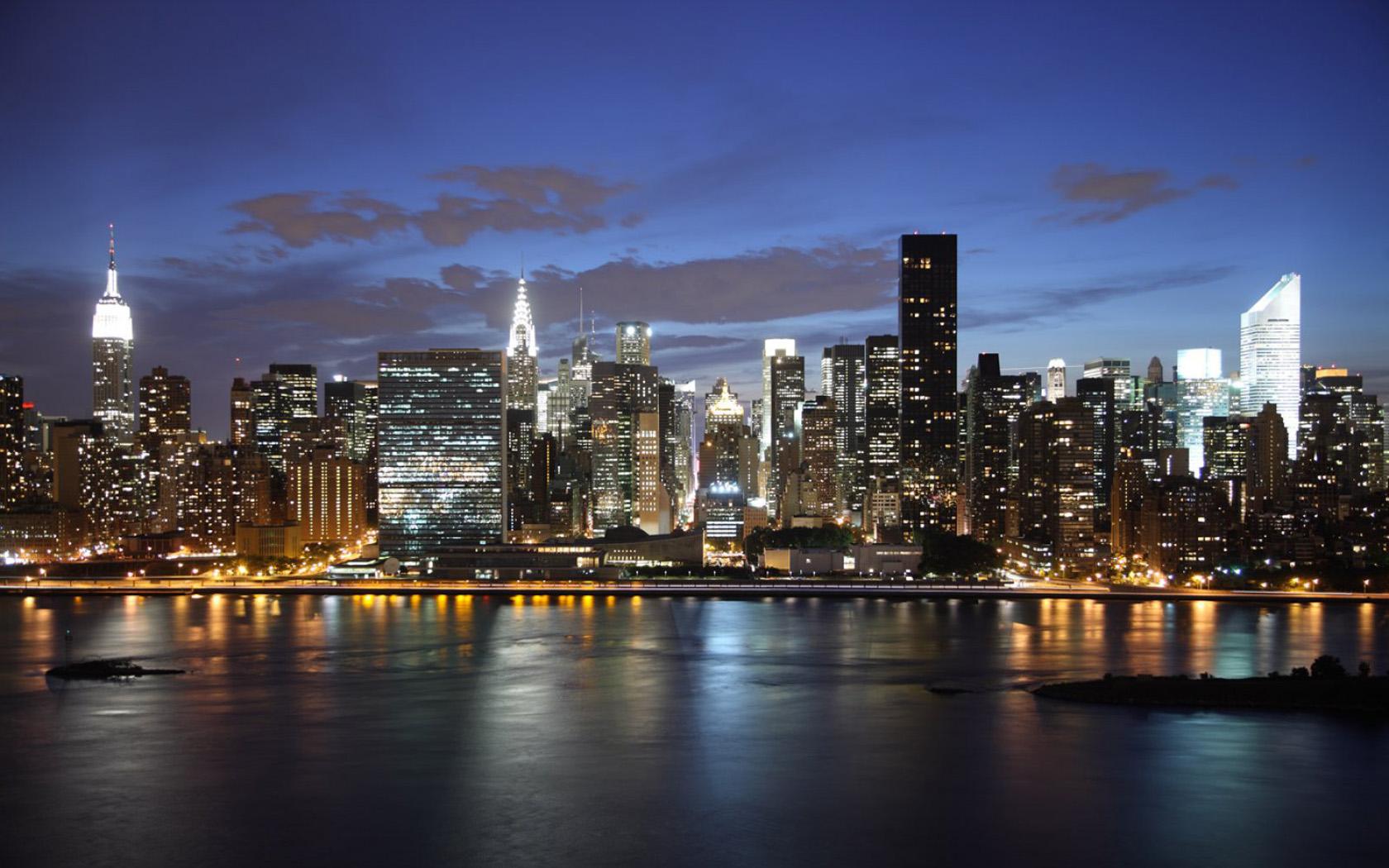 New York Skyline Night Hd 1680x1050 Wallpaper Teahub Io