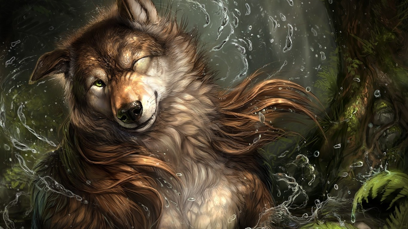 Anime Wolf Wallpaper Hd 1366x768 Wallpaper Teahub Io