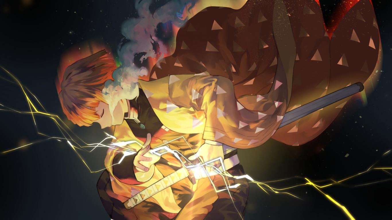 Demon Slayer, Zenitsu Agatsuma, Kimetsu No Yaiba, Sword, - Kimetsu No Yaiba Zenitsu - HD Wallpaper