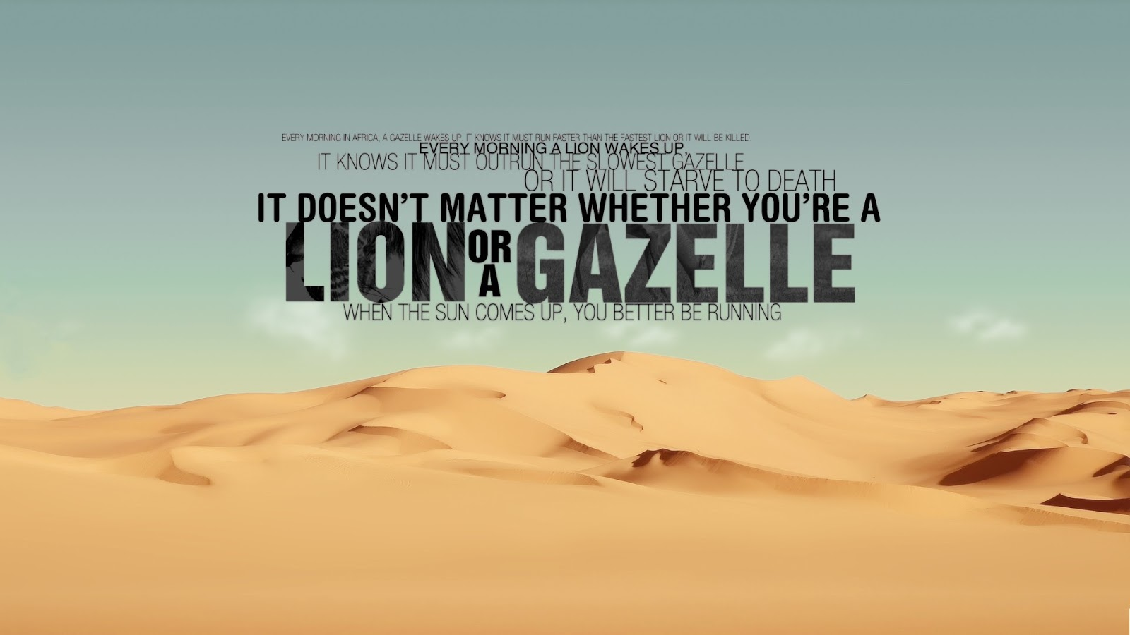 Beautiful Wallpapers With Quotes Of Life - Lion Or A Gazelle - HD Wallpaper