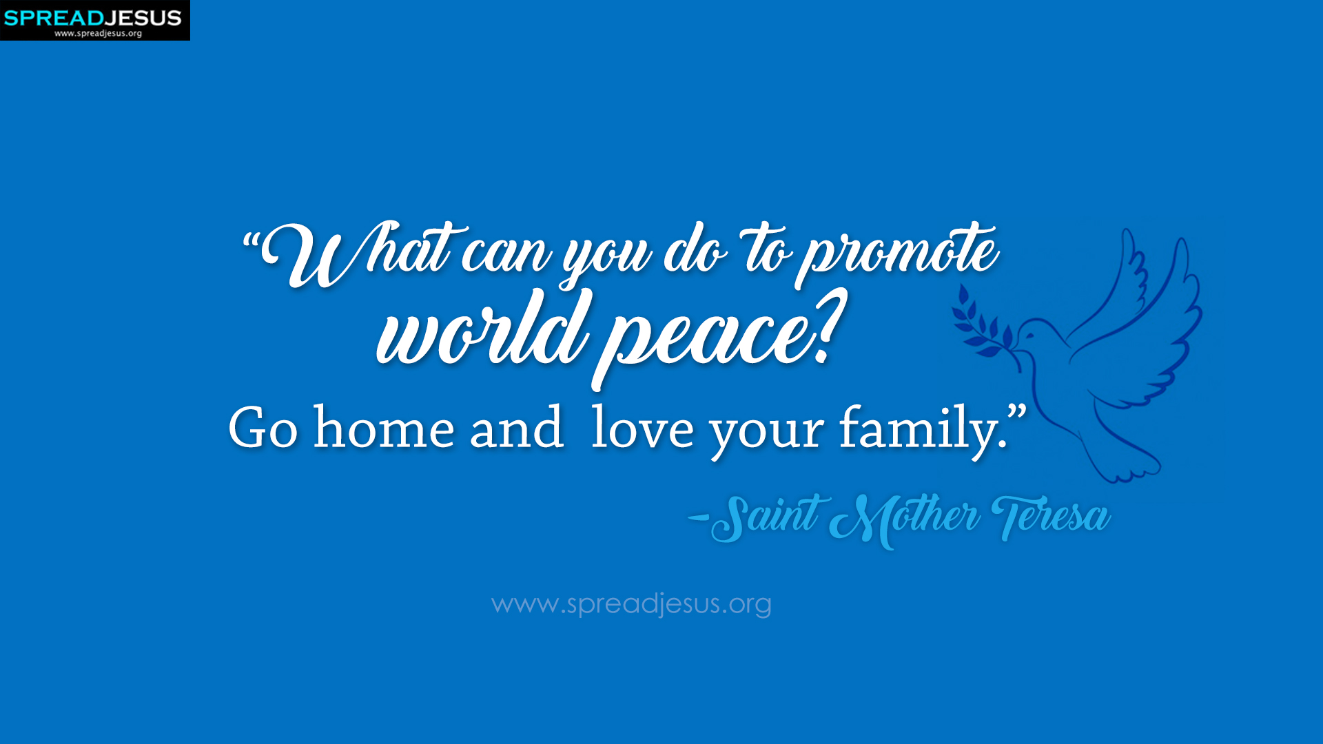 Saint Mother Teresa Quotes Hd-wallpaper Promote World - Short Catholic Quotes On Family - HD Wallpaper