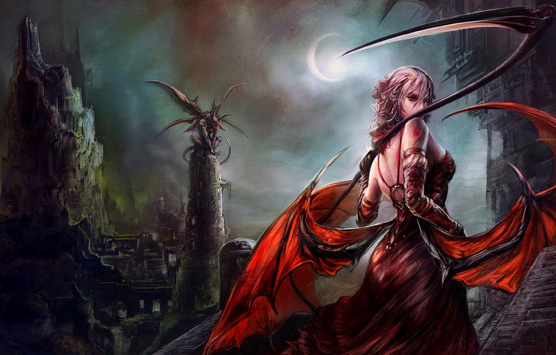 Photo Wallpaper Dark, Demon, Girl, Moon, Fantasy, Tower, - Fantasy Art Demon Queen - HD Wallpaper