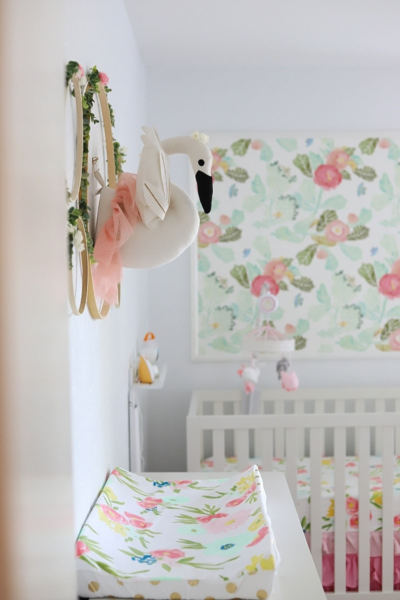 Diy Nursery Wall Decor With Flowers And A Swan In A - Girl Nursery Floral - HD Wallpaper