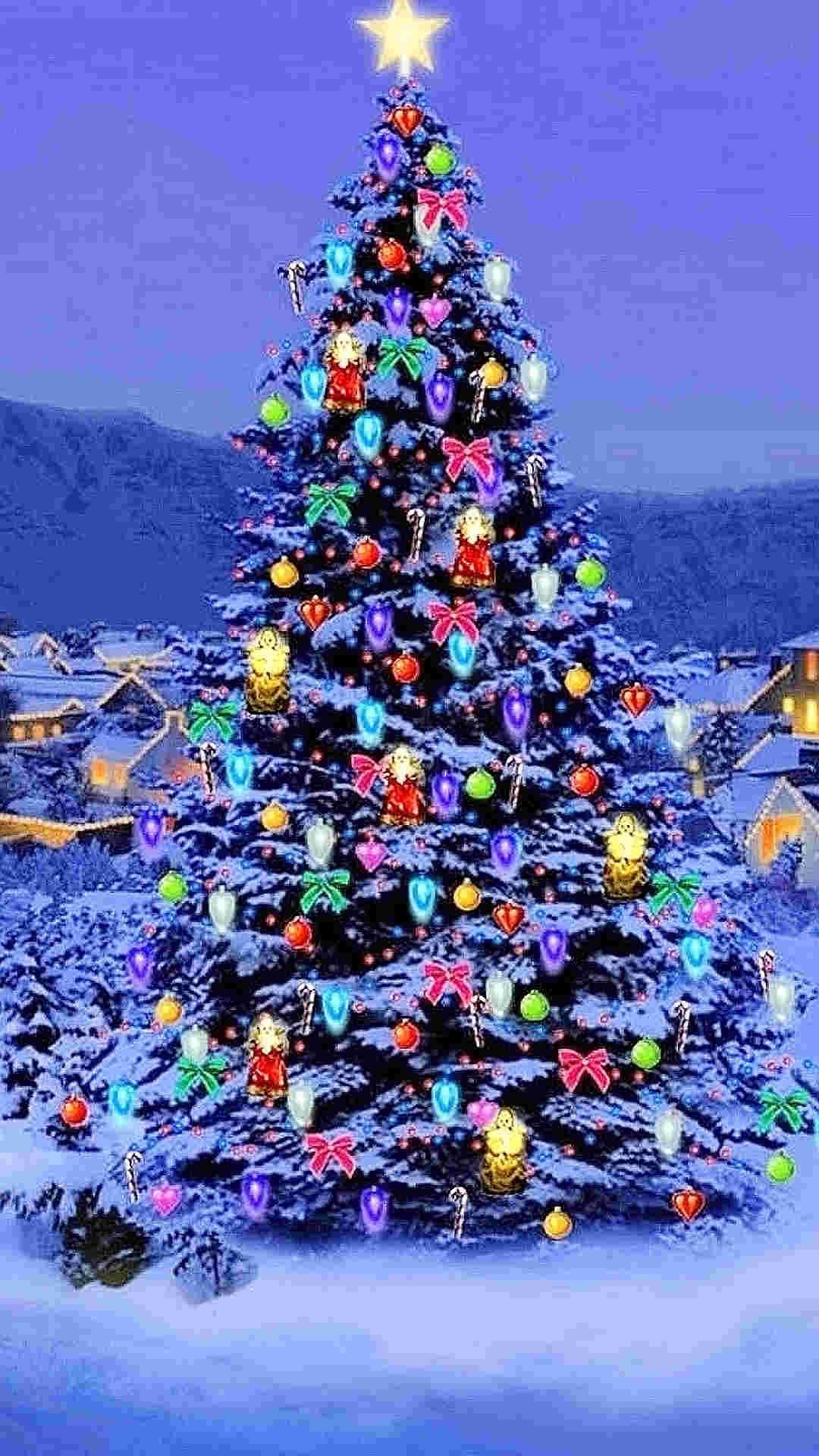 Bling Bling Christmas Tree With Star Iphone 6 Plus - Christmas Tree Background Iphone - HD Wallpaper