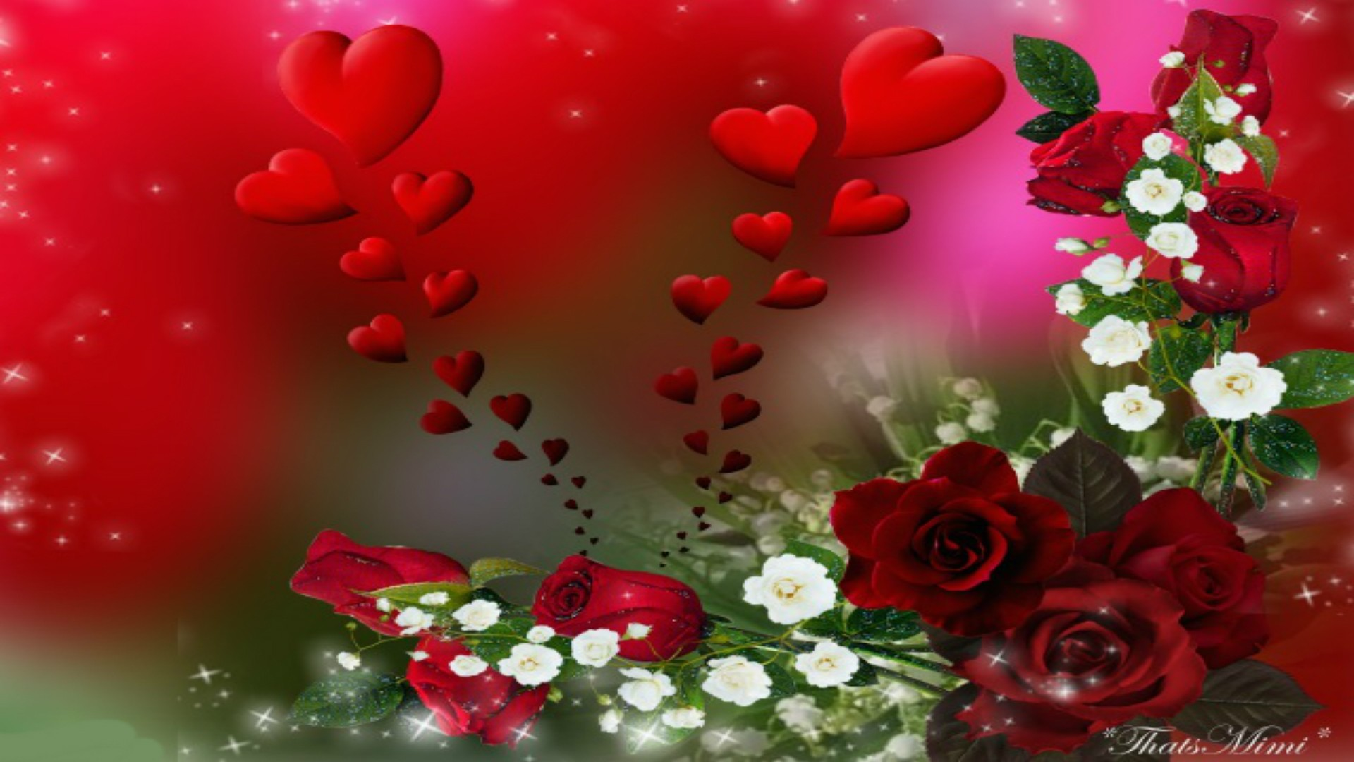 Falling Red Roses Valentines Beautiful Romantic Hearts - Garden Roses - HD Wallpaper