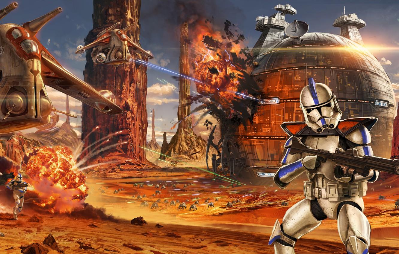 Photo Wallpaper Star Wars Art Soldiers Battle The Star Wars Clone Wars Wallpaper Iphone 1332x850 Wallpaper Teahub Io