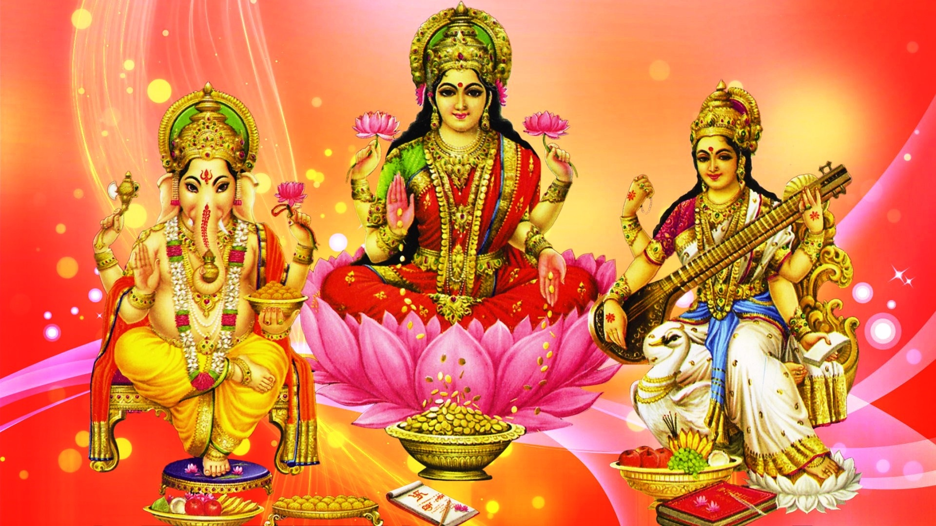 Laxmi Ganesh Saraswati Hd - HD Wallpaper