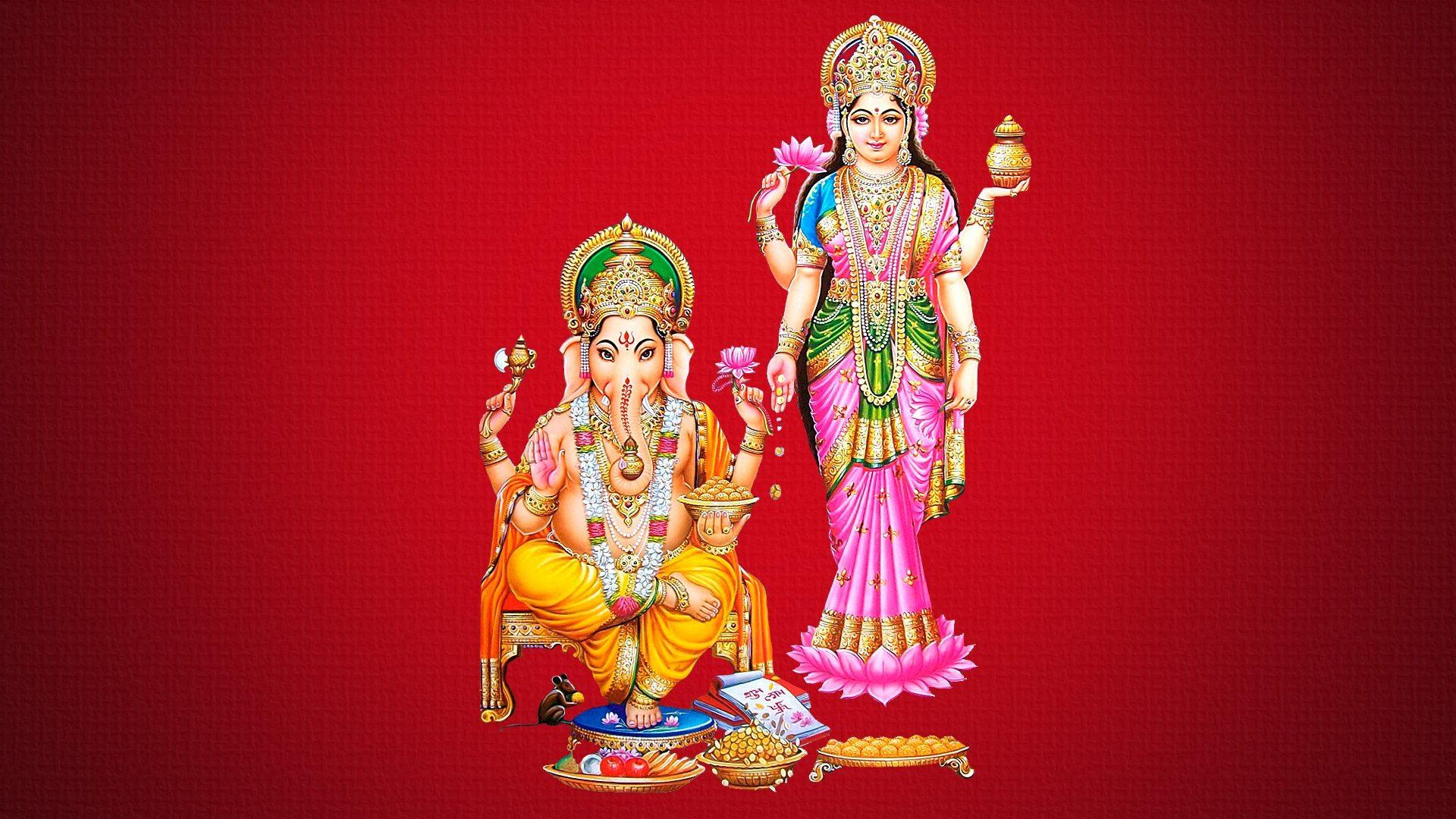 Mata Laxmi And Ganesh - HD Wallpaper