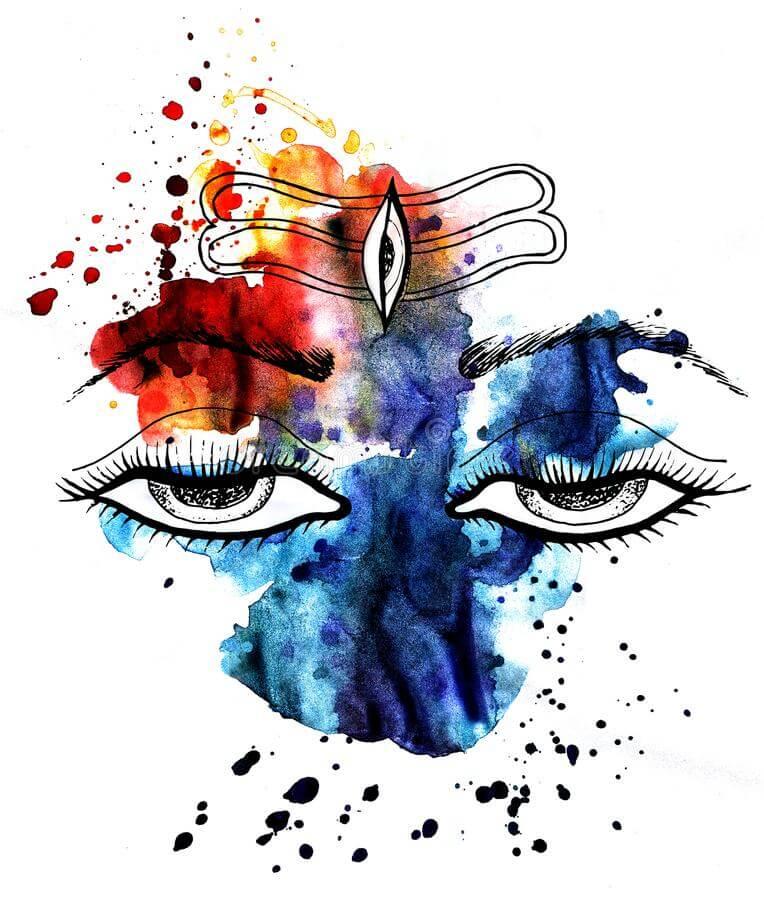 Canvas Lord Shiva Acrylic Painting - HD Wallpaper