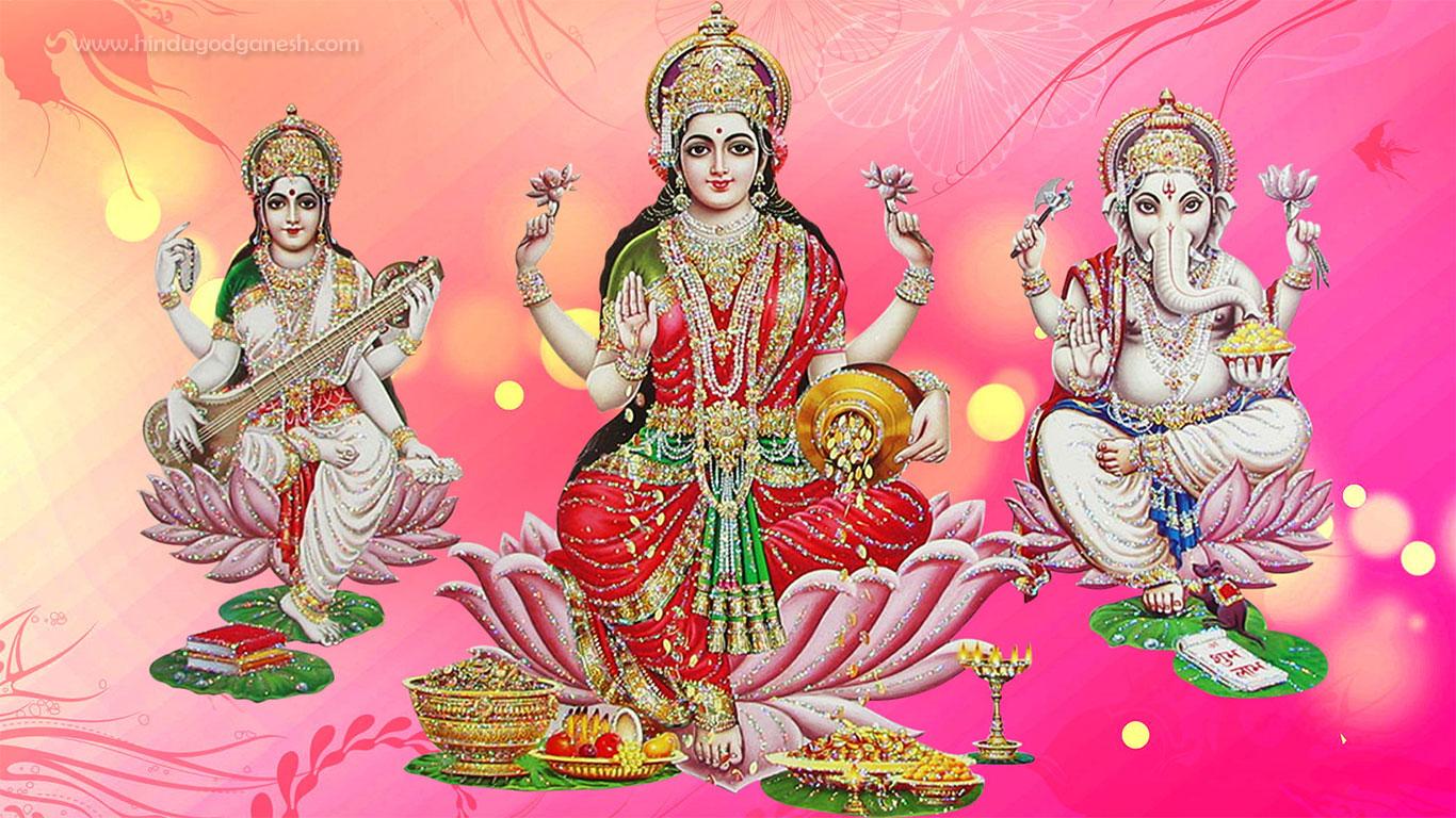 Goddess Lakshmi Hd Wallpaper Laxmi Ganesh Saraswati Png 1366x768 Wallpaper Teahub Io