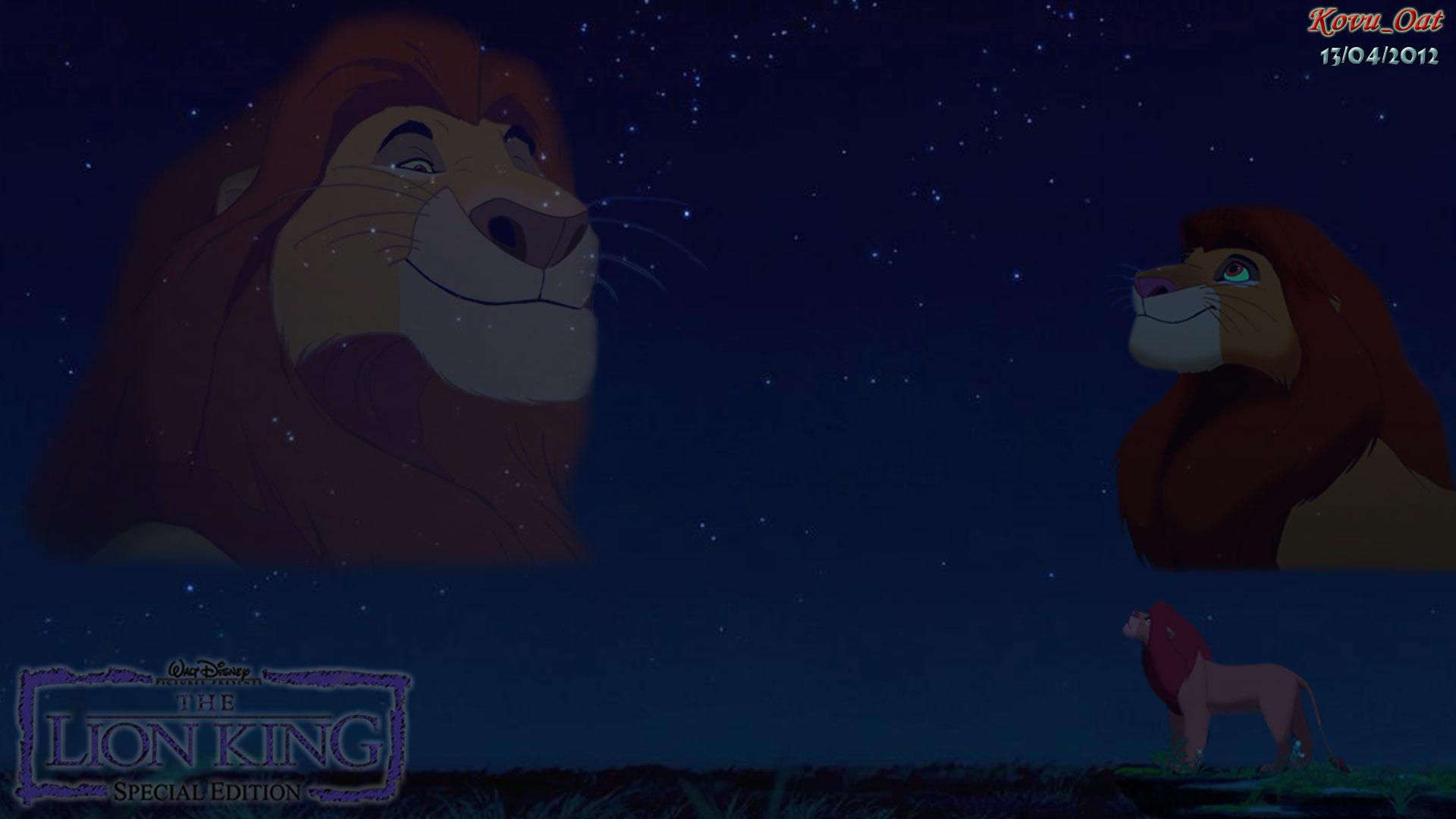 The Lion King Mufasa & Simba Love Night Sky Wallpaper - Lion King Dad Sky - HD Wallpaper