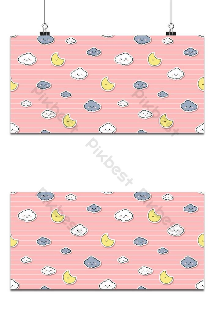 Lucu Menggemaskan Langit Awan Bintang Pink Kartun Doodle - Gambar Kartun Awan Imut - HD Wallpaper