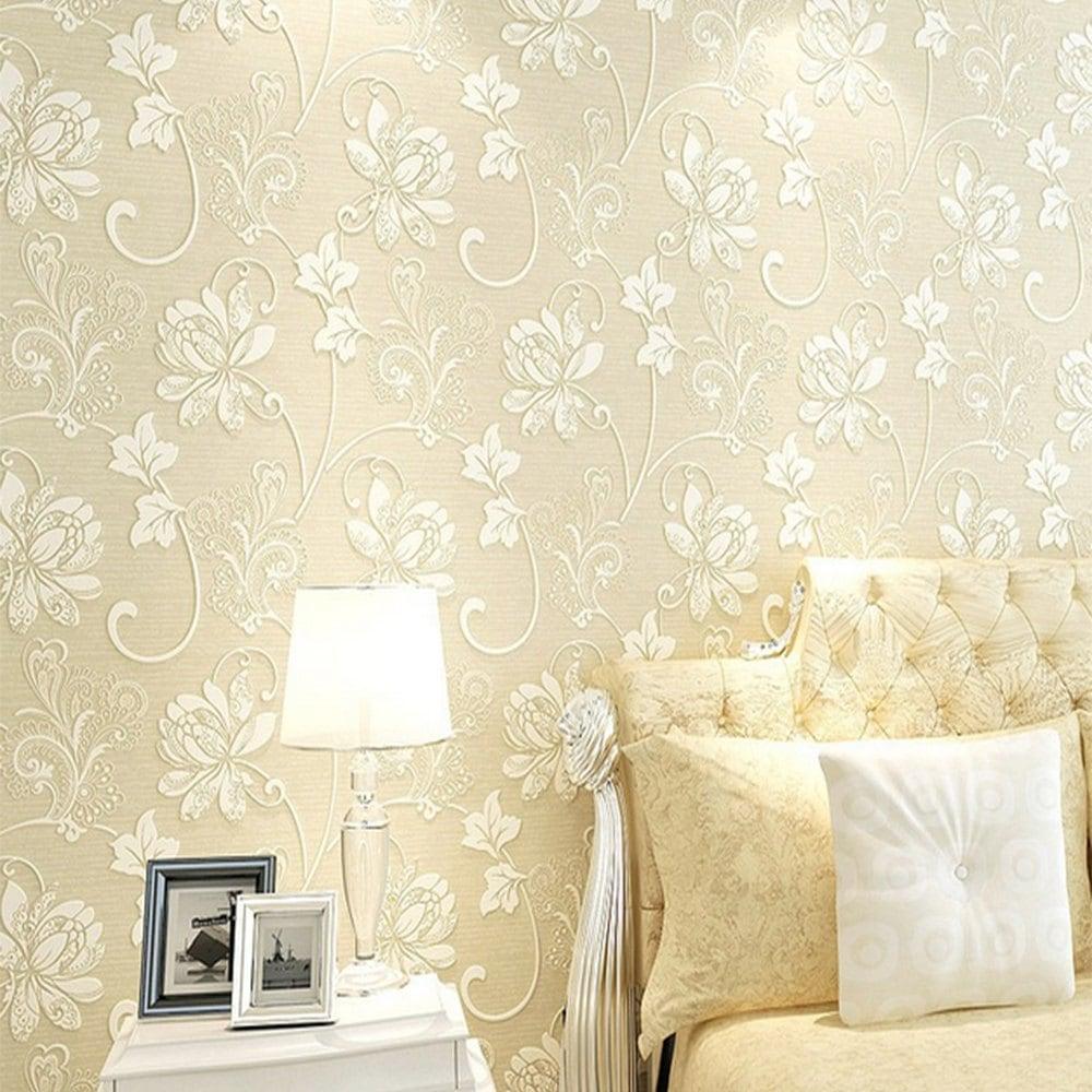 Fashion 3d Floral Wall Paper Light Color Flower Wallpaper - Light Color Wallpaper For Walls - HD Wallpaper