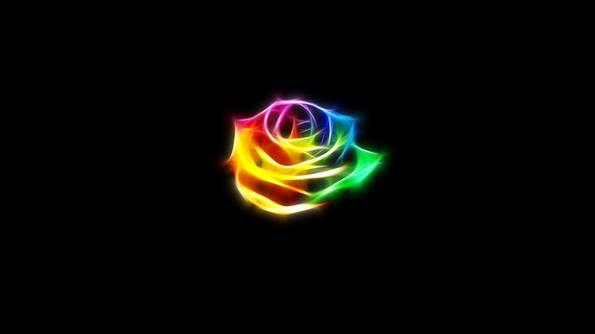 Wallpaper Rose Neon Dark Background - Neon Flower With Black Background - HD Wallpaper