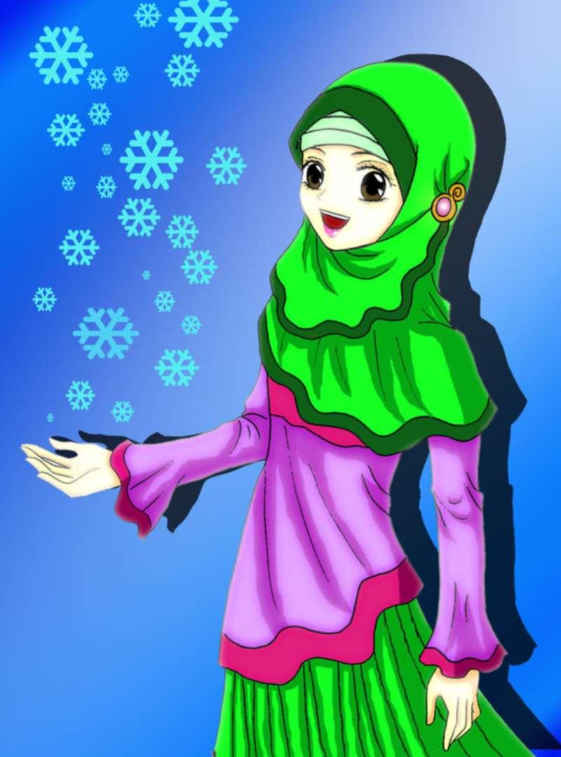 Gambar Kartun Muslimah Cantik Imut Top Gambar - Muslimah Cartoon Girl - HD Wallpaper