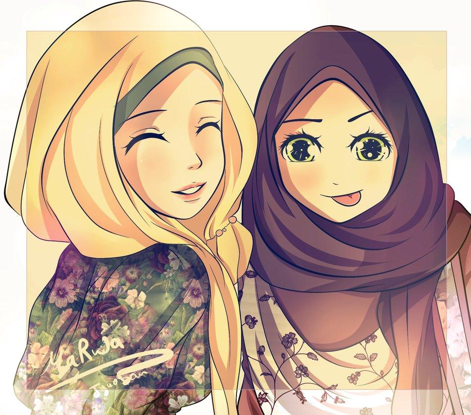 Cute Cartoon Hijab Girl - HD Wallpaper
