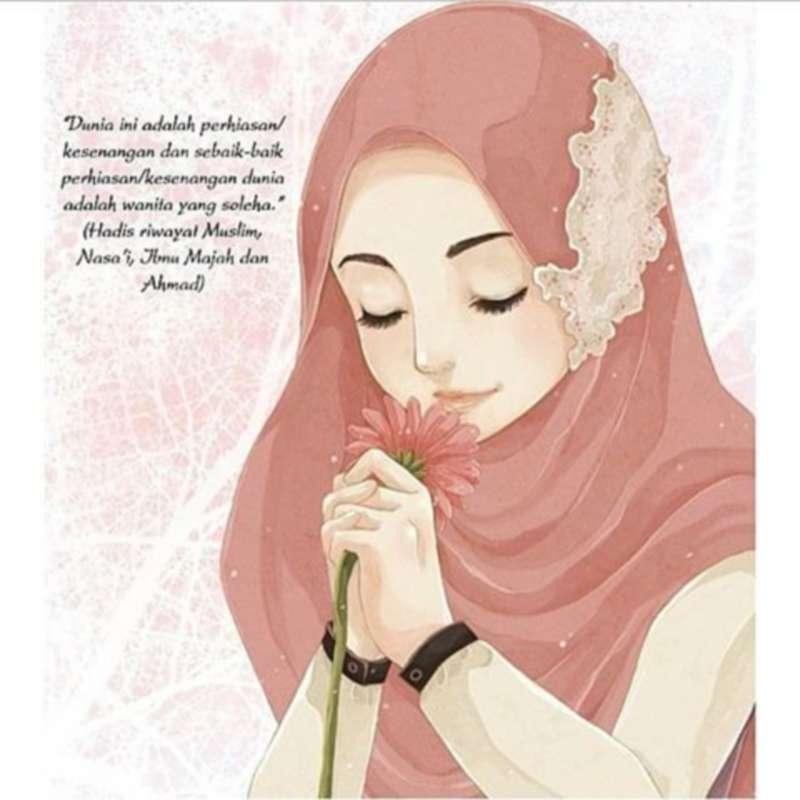 Gambar Kartun Muslimah Lucu Mencium Bunga - Kartun Wanita Berhijab - HD Wallpaper