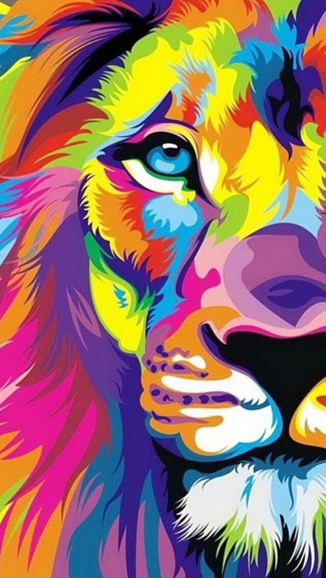 Lion, Wallpaper, And Colors Image - Art Wallpaper For Mobile - HD Wallpaper