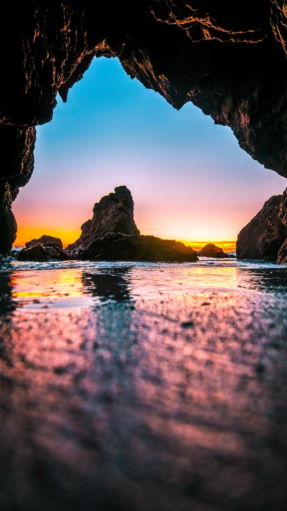 Wallpaper Cave Tide Stones Sea Iphone Cave 938x1668 Wallpaper Teahub Io