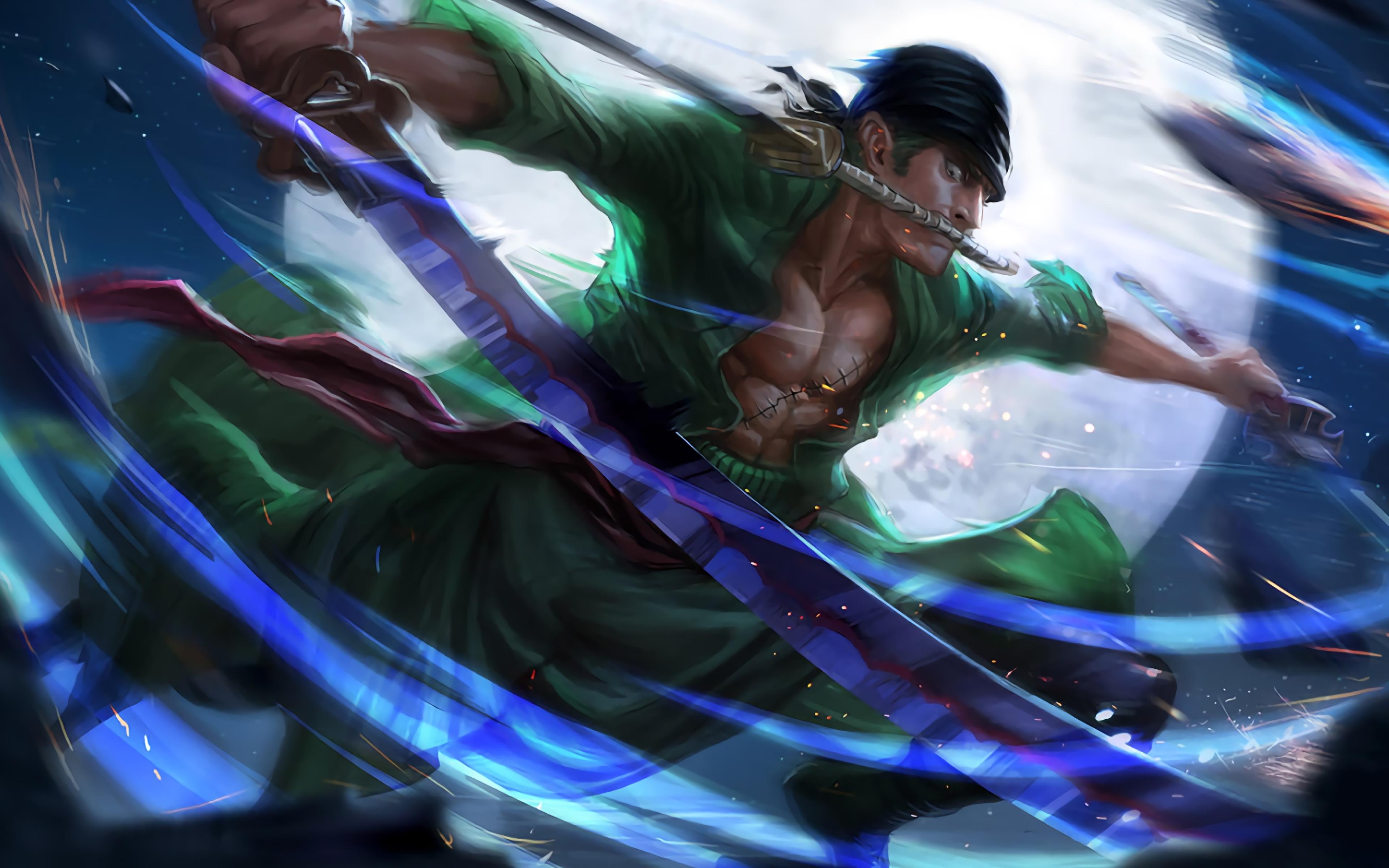 4k, Roronoa Zoro, Katana, Manga, Darkness, One Piece - One Piece Wallpaper 4k - HD Wallpaper
