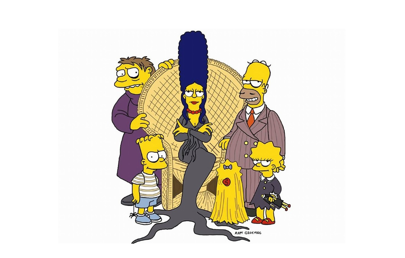 Photo Wallpaper Halloween, Minimalism, Cartoon, Crossover, - Addams Family Simpsons - HD Wallpaper