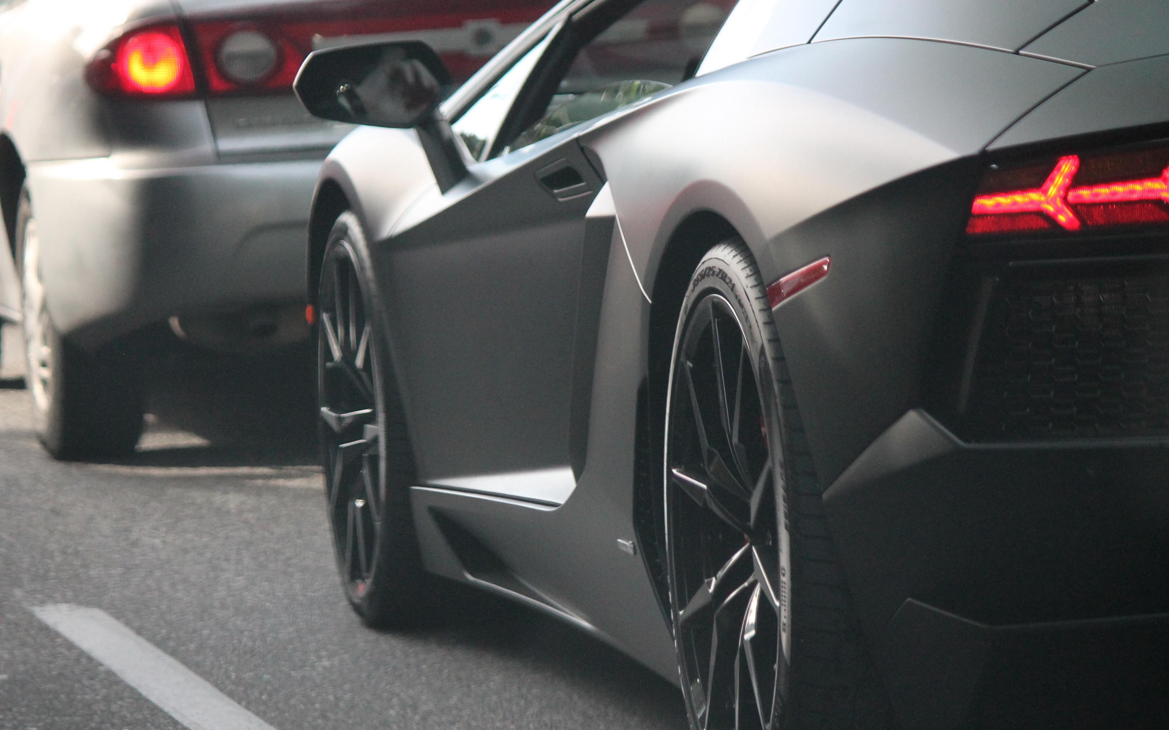 Wallpaper Lamborghini Lights Wheel Supercar Lamborghini Black On Road 3840x2400 Wallpaper Teahub Io