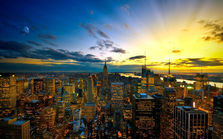 Beautiful New York City Wallpaper At Sunset Time - New York City - HD Wallpaper