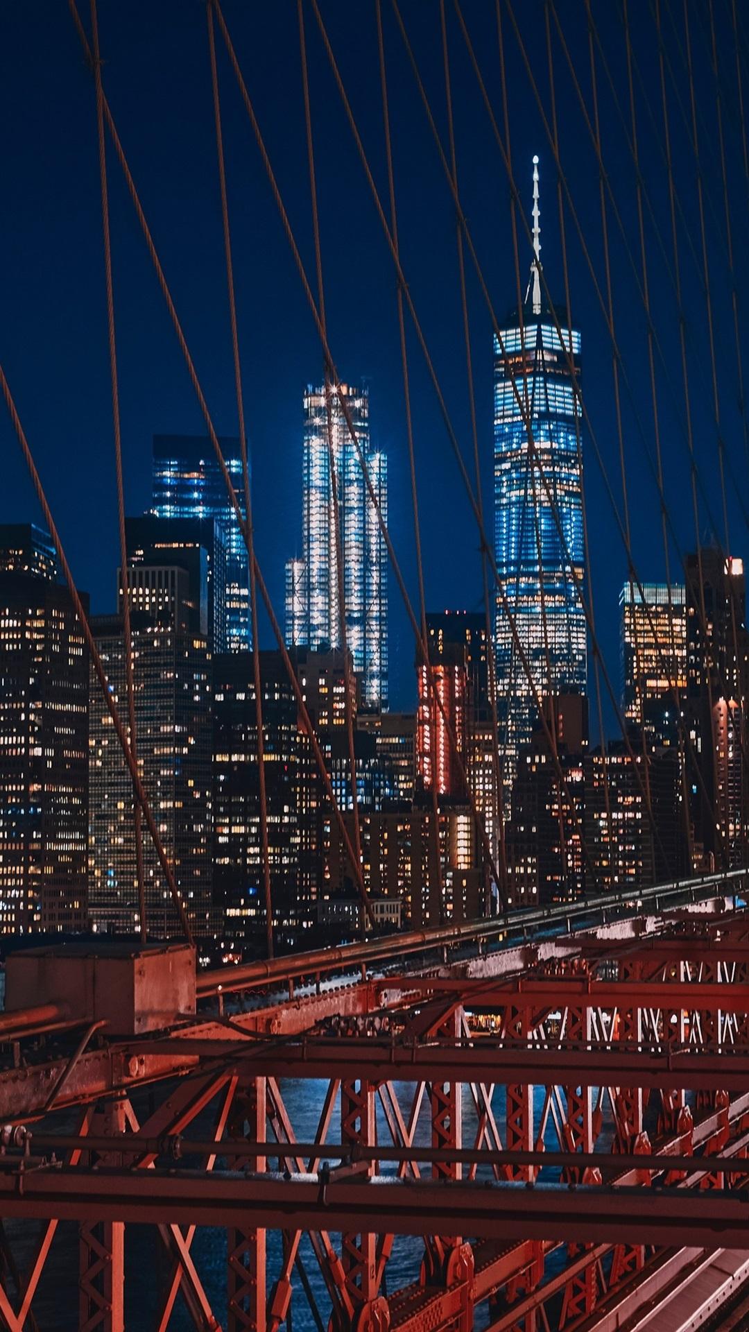 Iphone Wallpaper New York, Usa, Brooklyn, Bridge, Night, - Night Iphone Wallpaper New York - HD Wallpaper