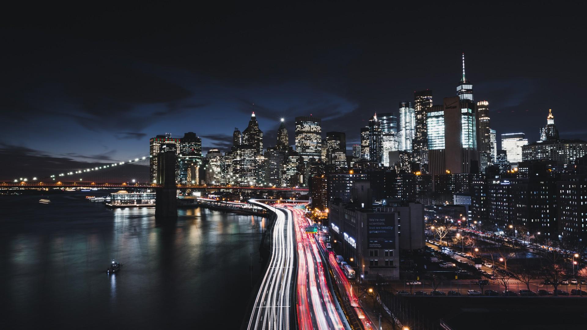 New York City Night Cityscape - New York Night 4k - HD Wallpaper