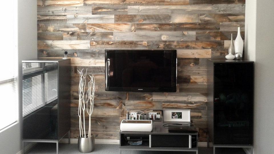 Peel & Stick Wood Decor - One Wood Wall In Living Room - HD Wallpaper