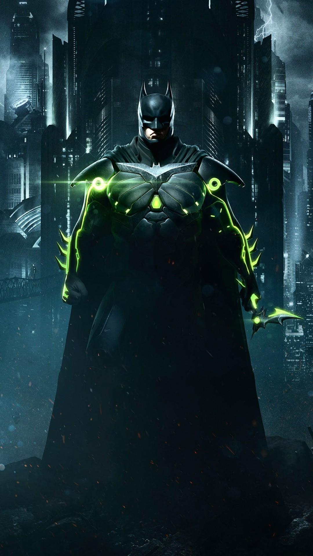 Batman, Injustice 2, Cityscape, Artwork - Injustice 2 Wallpaper Phone - HD Wallpaper