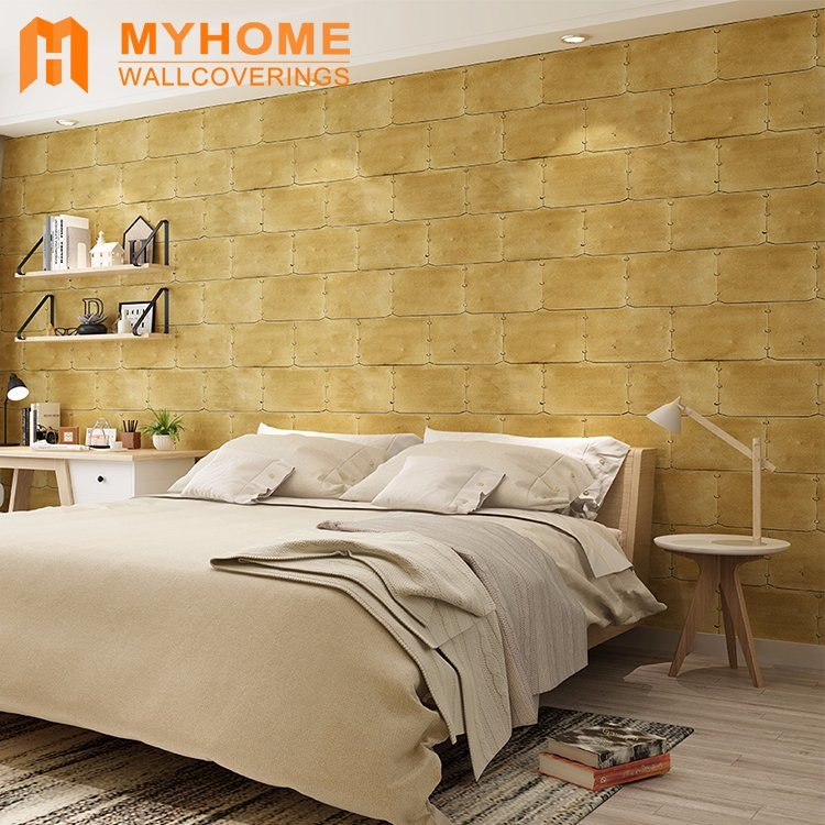 Interior Wall Decorative Golden 3d Wallpaper For Living - 3d Wallpaper For Wall For Bedroom - HD Wallpaper