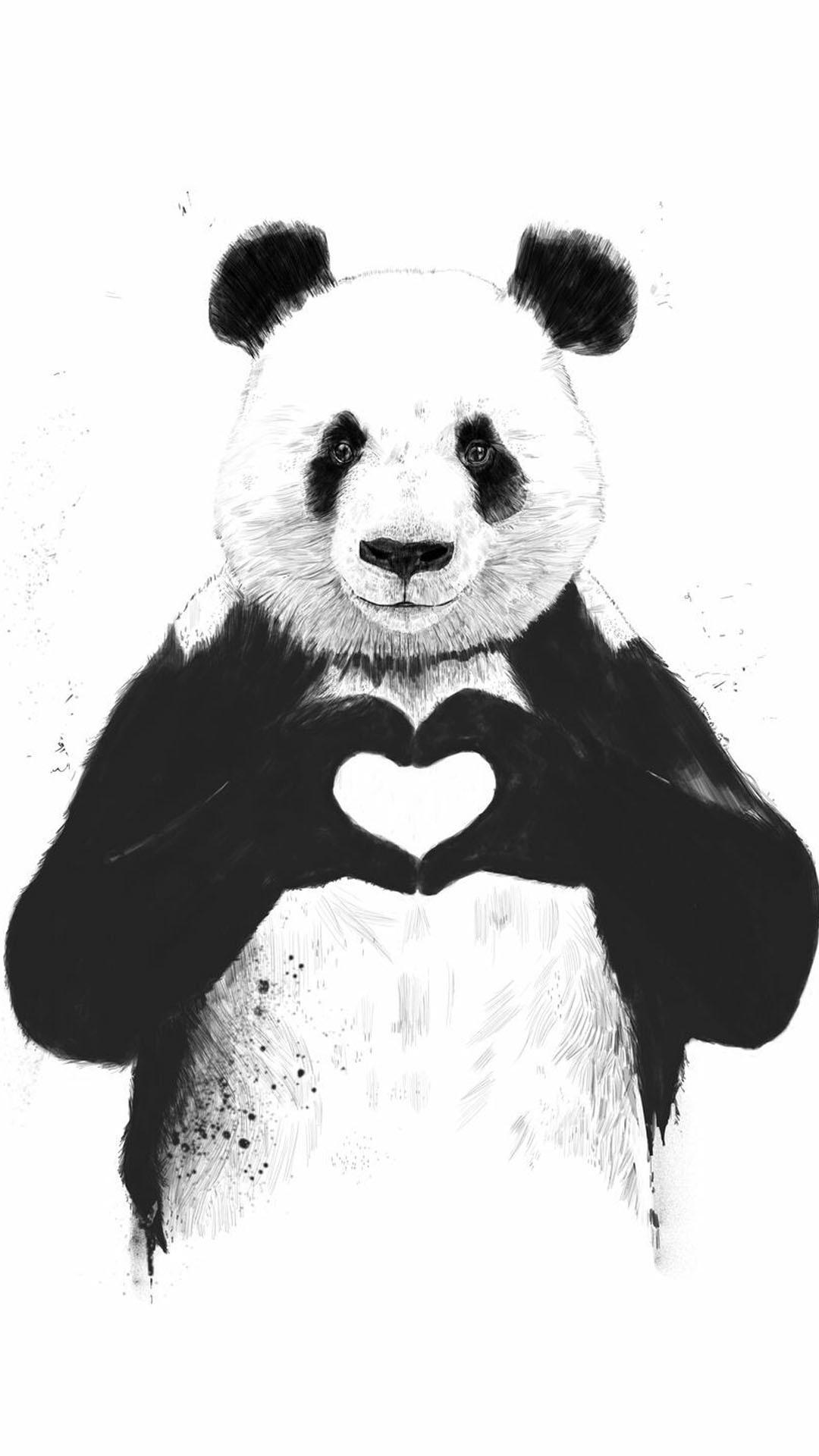 1080x1920, Iphone Wallpaper Panda Heart Panda   Data - Love Wallpaper Panda - HD Wallpaper