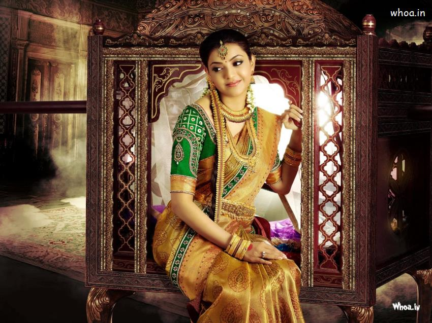 Kajal Agarwal Silk Saree With Designer Gold Jewellery - Latest Wedding Silk Sarees Collection - HD Wallpaper