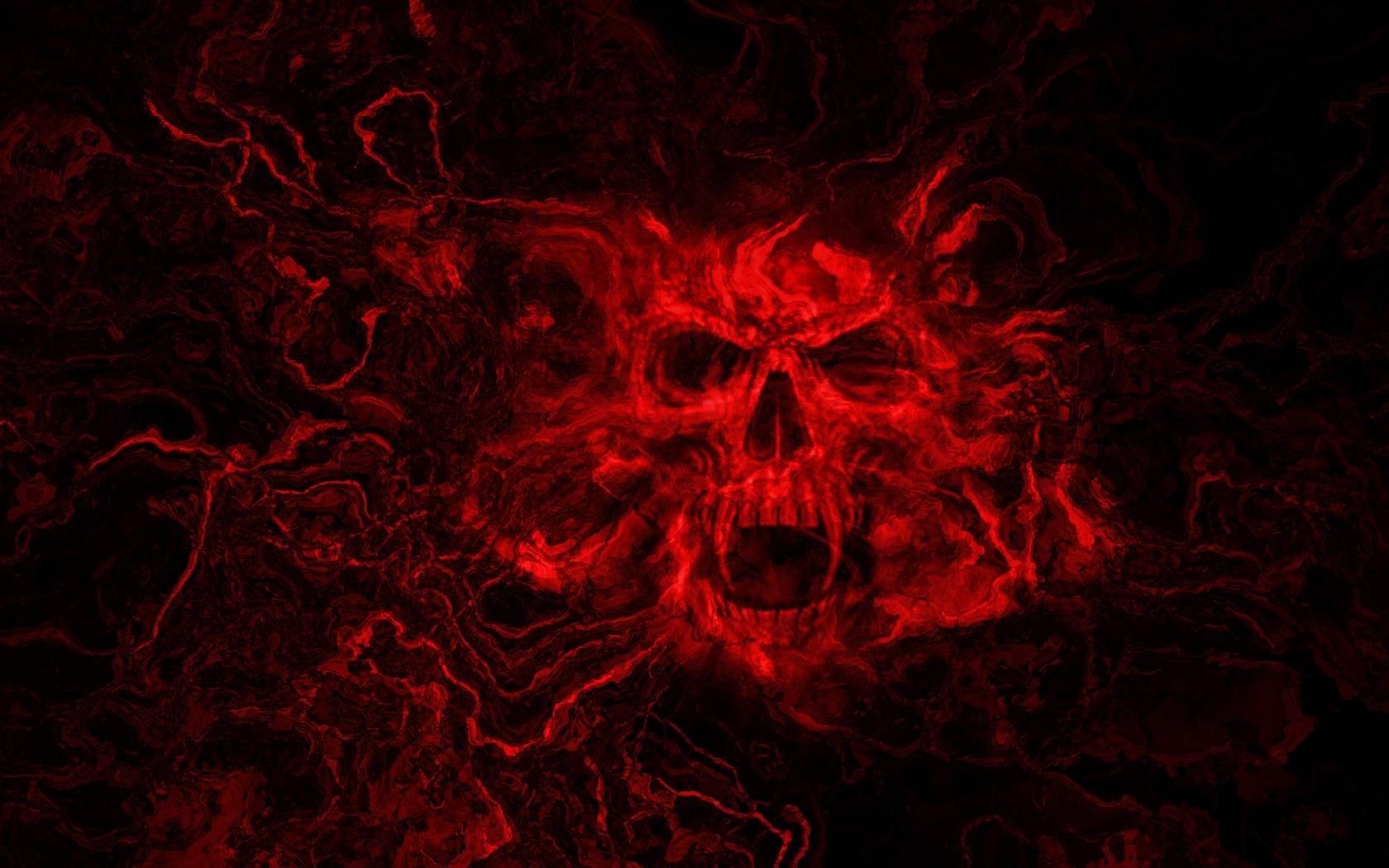 Horror Wallpaper - Dark Red Skull Background - HD Wallpaper