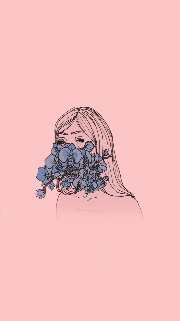 Wallpaper, Pink, And Lockscreen Image - Sad Girl Wallpaper Cartoon - HD Wallpaper