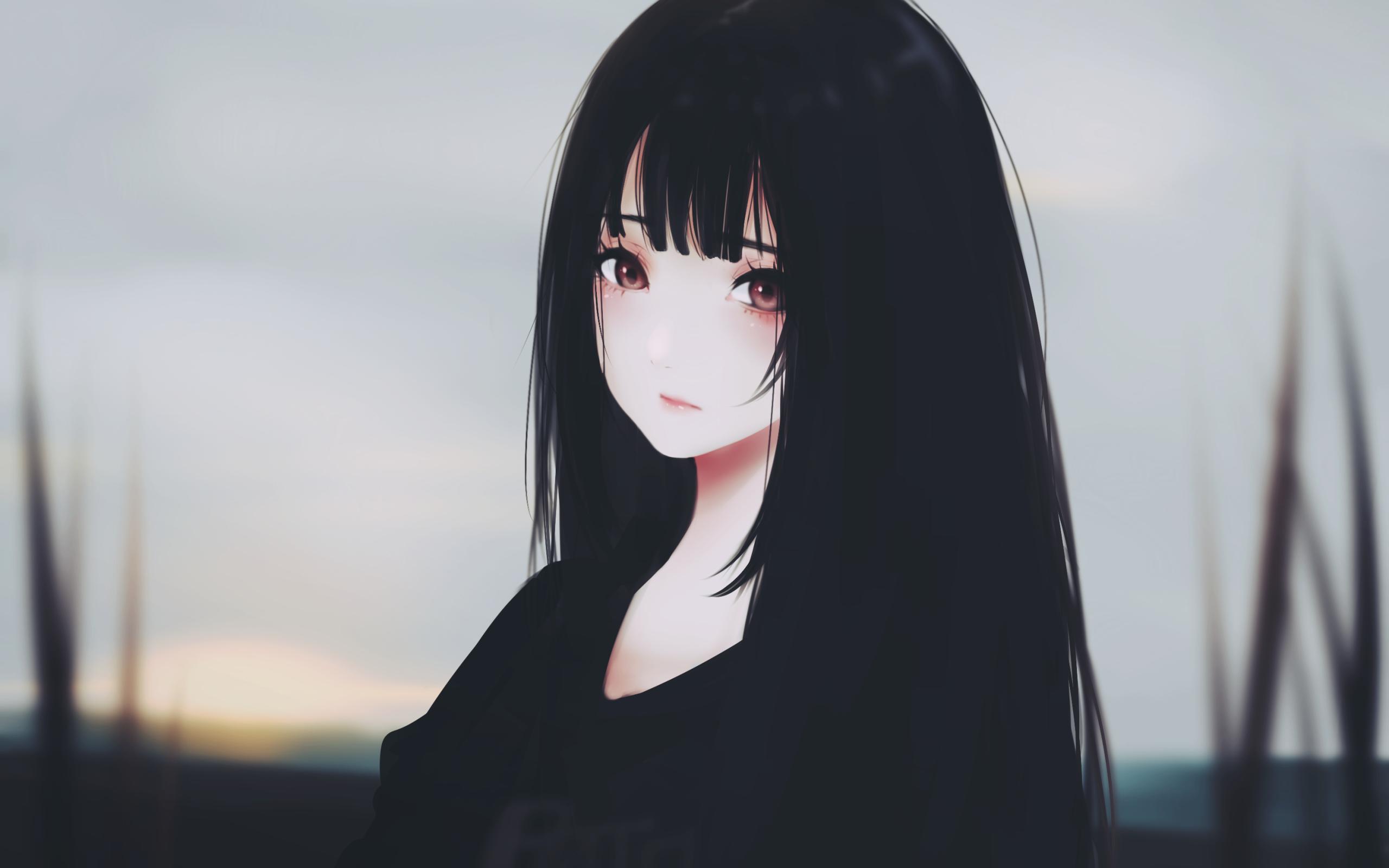 Anime Girl, Black Hair, Sad Expression, Semi Realistic - Beautiful Long Hair Anime Girl - HD Wallpaper