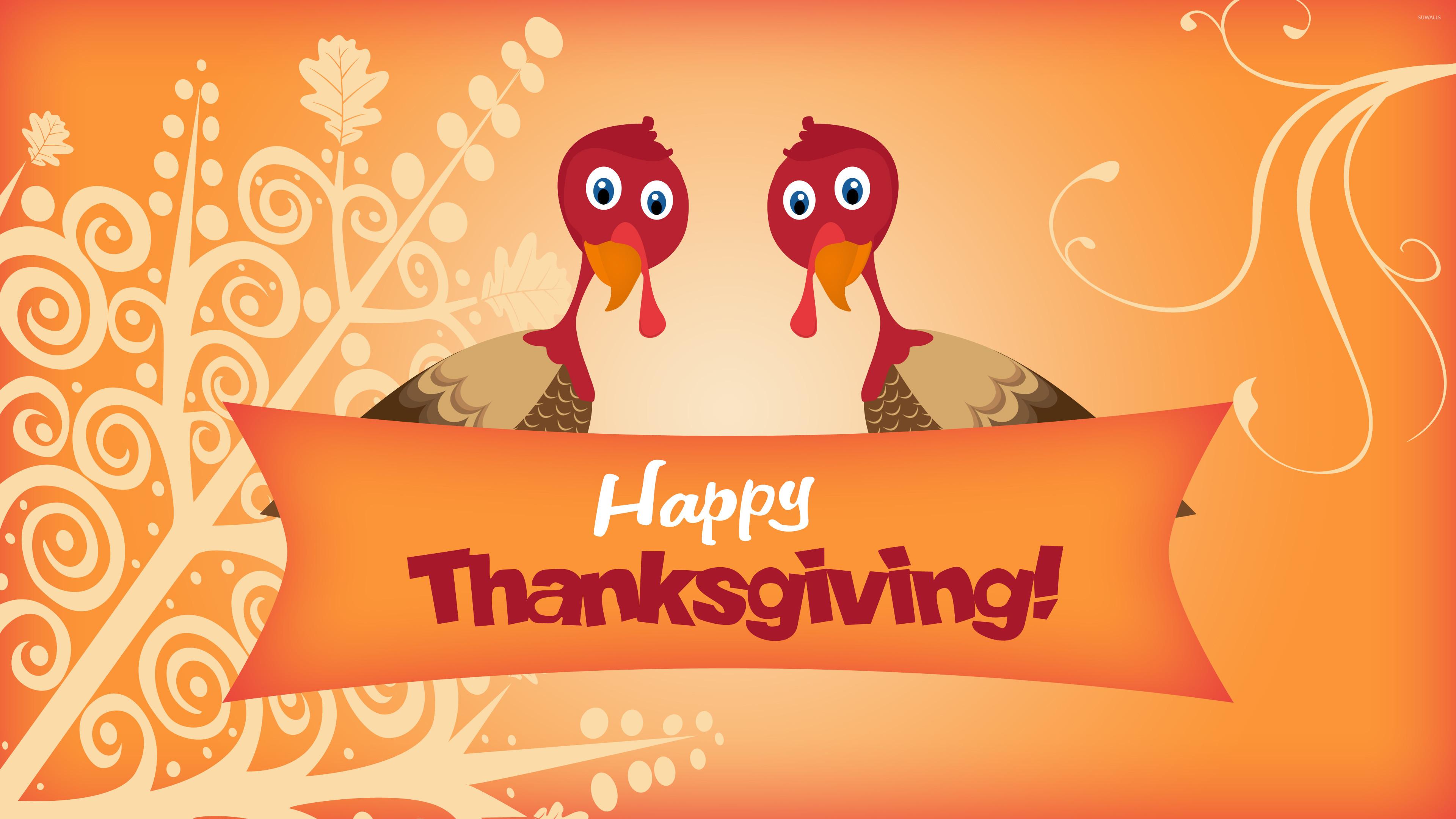 3840x2160, Two Turkeys Wishing You Happy Thanksgiving - Happy Thanksgiving - HD Wallpaper
