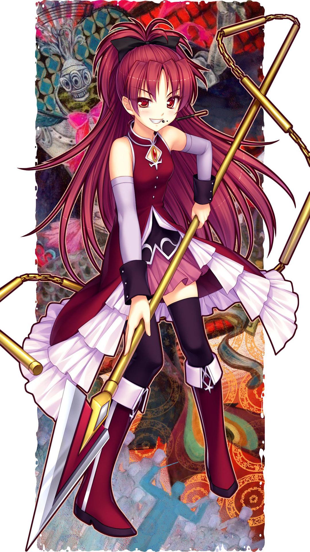 Kyoko Sakura Puella Magi Madoka Magica Anime Mobile - Puella Magi Madoka Magica Kyoko Anime - HD Wallpaper