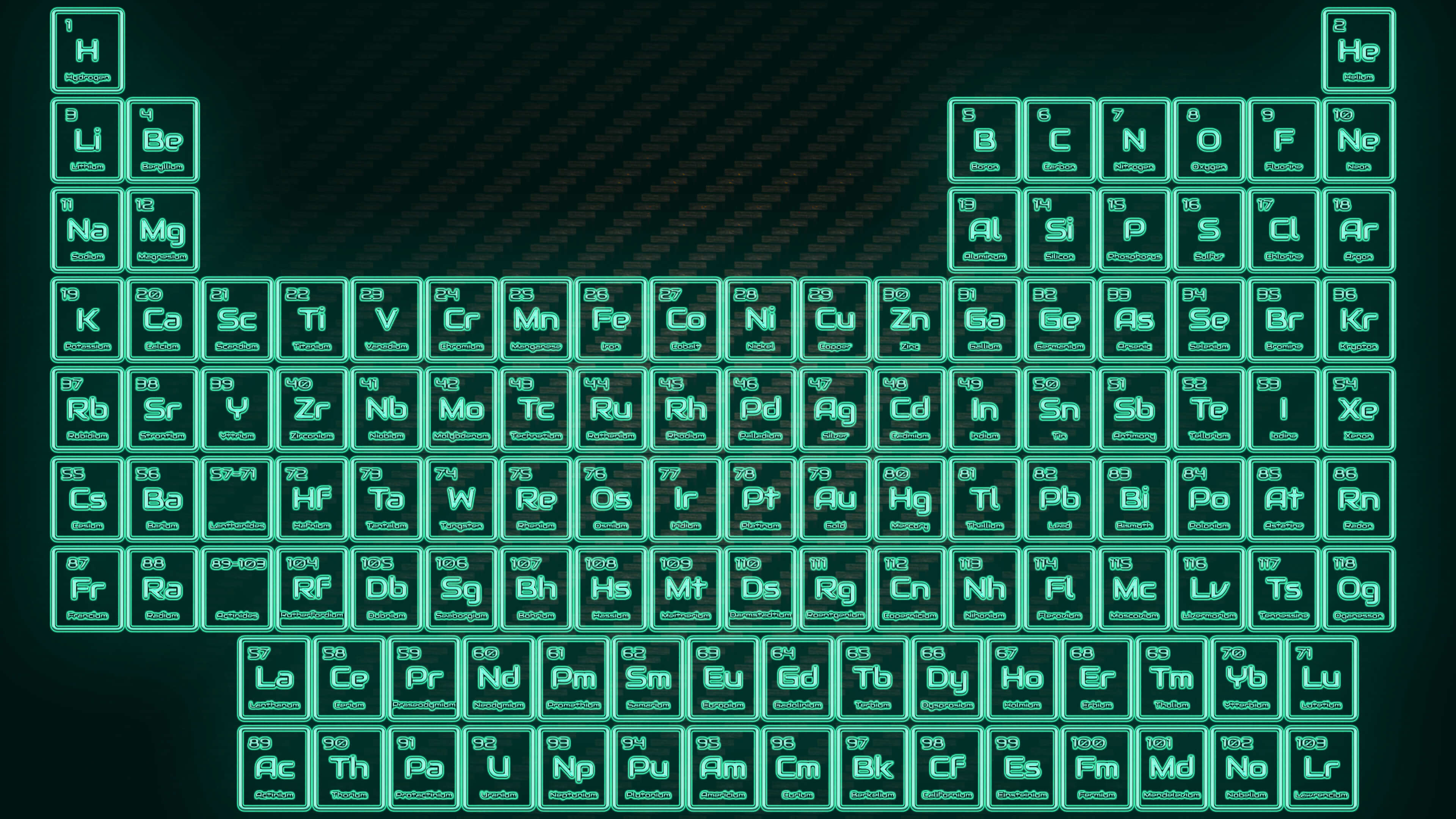 3840x2160, Tritium Neon Glowing Tube Periodic Table - Periodic Table Neon Color - HD Wallpaper