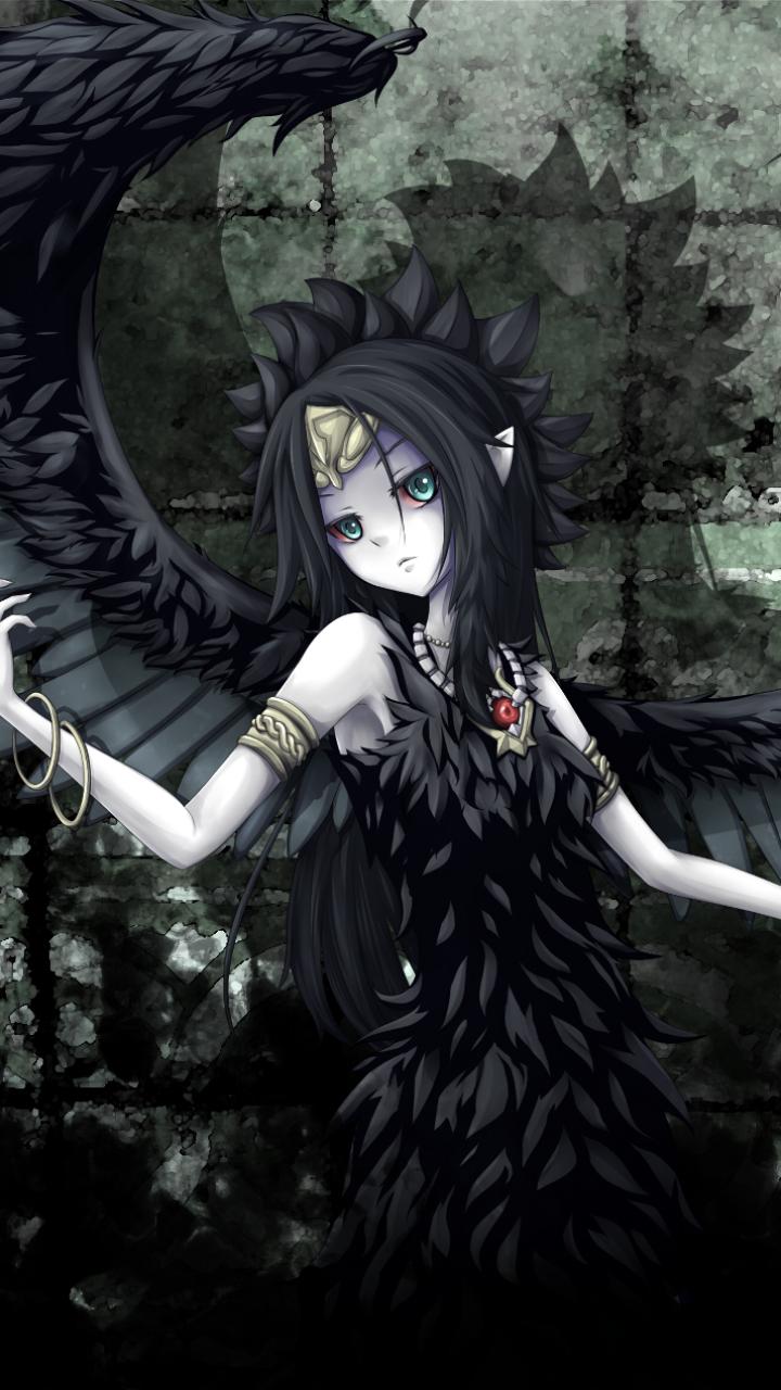 Anime Girl With Black Angel Wings - HD Wallpaper