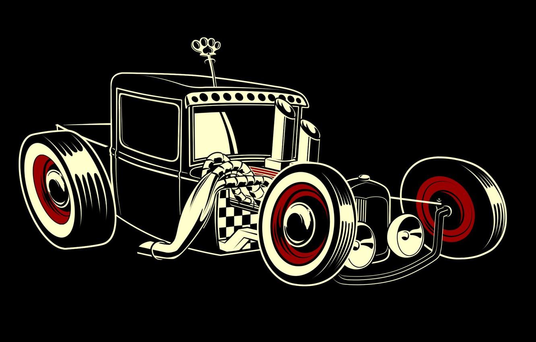 Photo Wallpaper Style, Black Background, Hot Rod - Hot Rod Rat Cartoon - HD Wallpaper