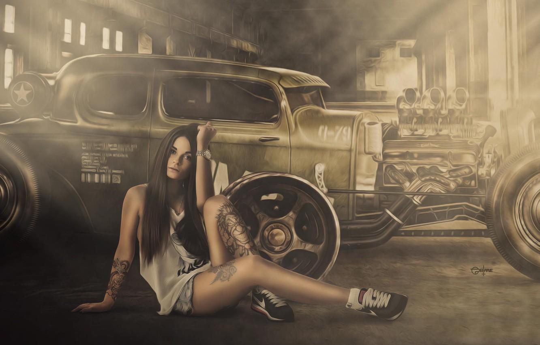 Photo Wallpaper Girl, Hot Rod, Smoke, Wheels, Engine, - Hot Rod Girl Wallpaper Hd - HD Wallpaper