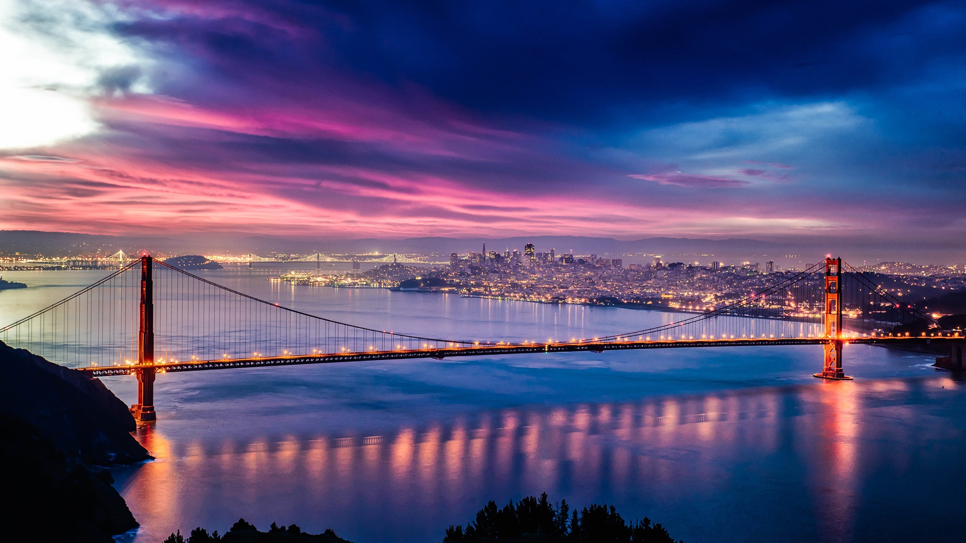 Golden Gate Bridge Wallpaper Sunset - HD Wallpaper
