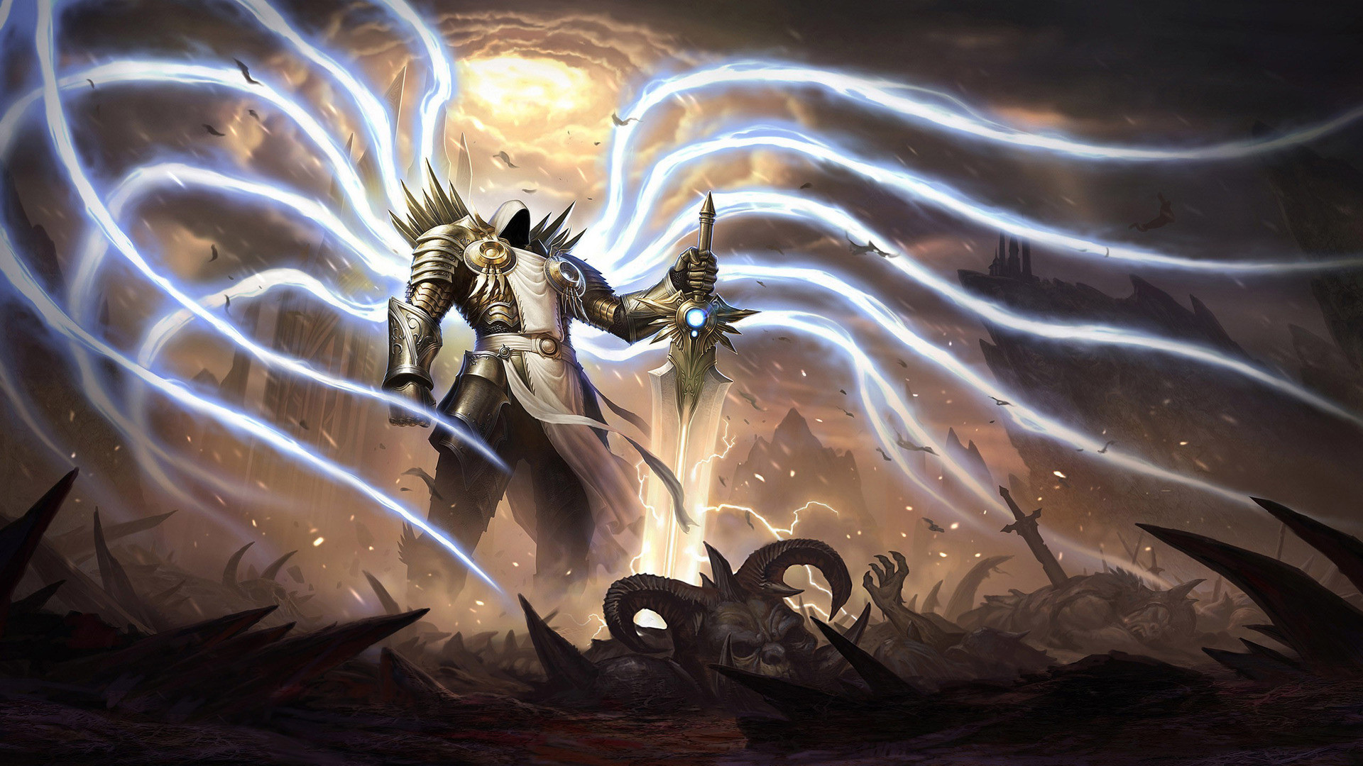 4k Animated Wallpaper Diablo 3 Archangel Tyrael 1920x1080 Wallpaper Teahub Io