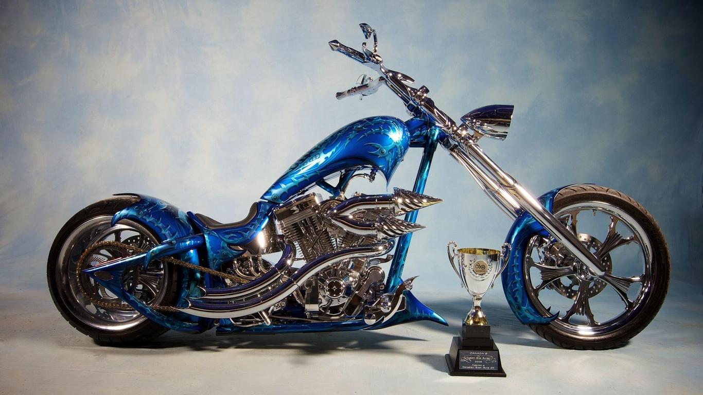Wallpaper Chopper, Bike, Blue, Airbrush - Custom Bike - HD Wallpaper