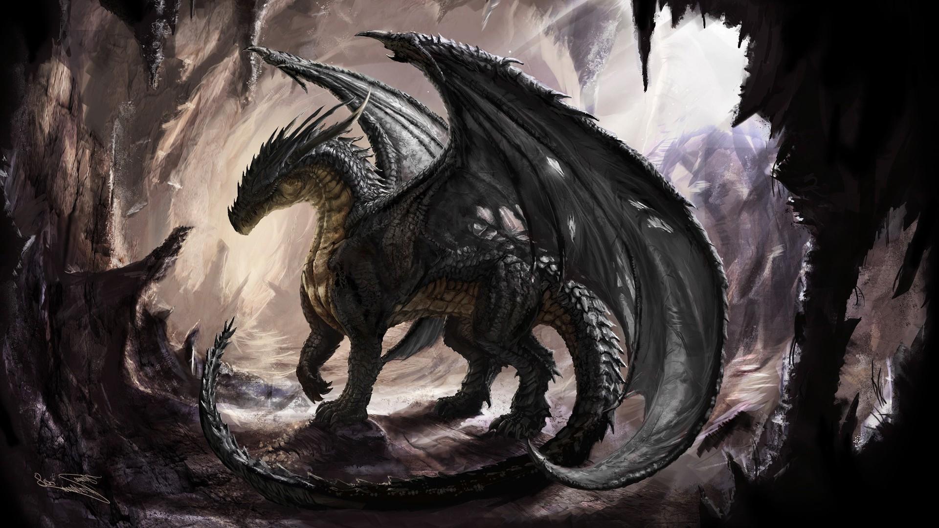 Artwork, Dragon, Fantasy Art Wallpapers Hd / Desktop - Black Dragon Fantasy Art - HD Wallpaper
