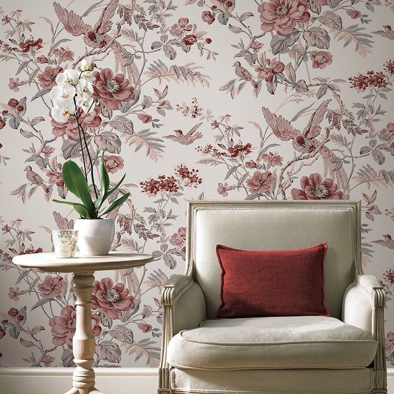 Red Vintage Birds And Flowers Wallpaper Chinese Floral - Vintage Bird Floral - HD Wallpaper