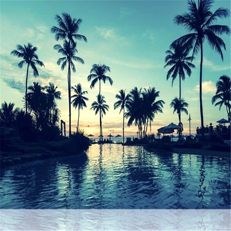 Palm Trees Ocean View - HD Wallpaper