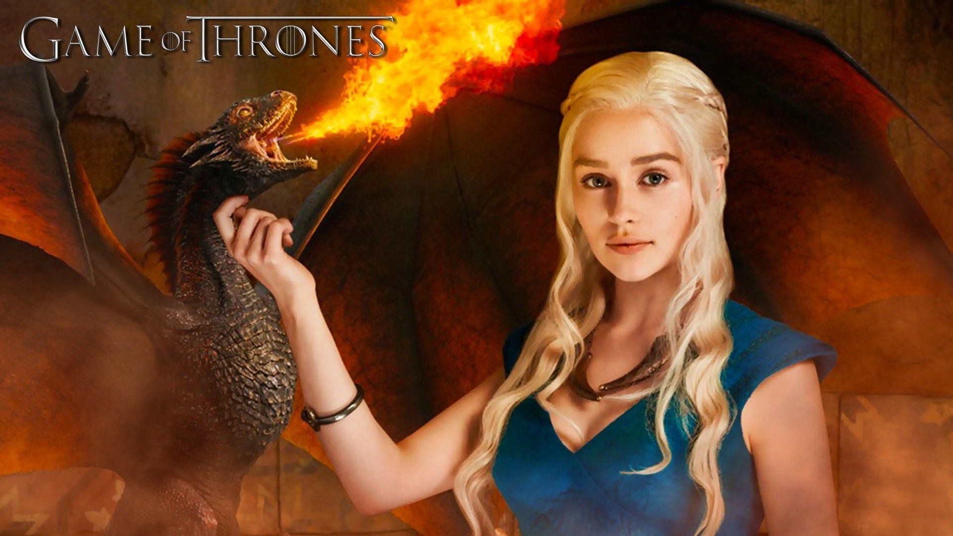 Emilia Clarke Game Of Thrones Wallpapers, 46 Pc Emilia - Game Of Thrones Daenerys With Dragons - HD Wallpaper